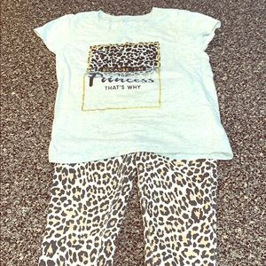Girls leopard print top and Leggings